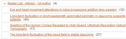 """Master List - Articles - 1st Author"" folder showing 4 subfolders and citations counts listed in the previous calculation"