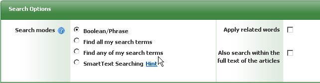 Screenshot of Cinahl showing search options