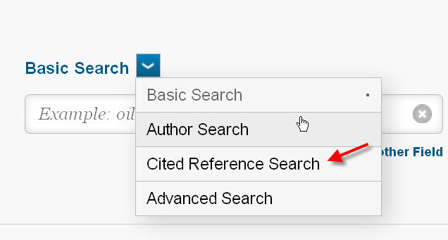 cited reference- choose from dropdown menu