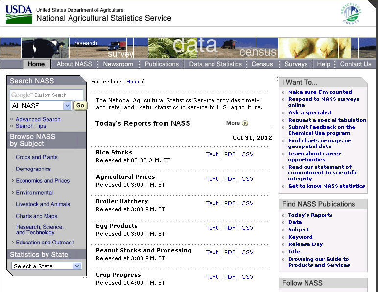 screen capture of NASS web page