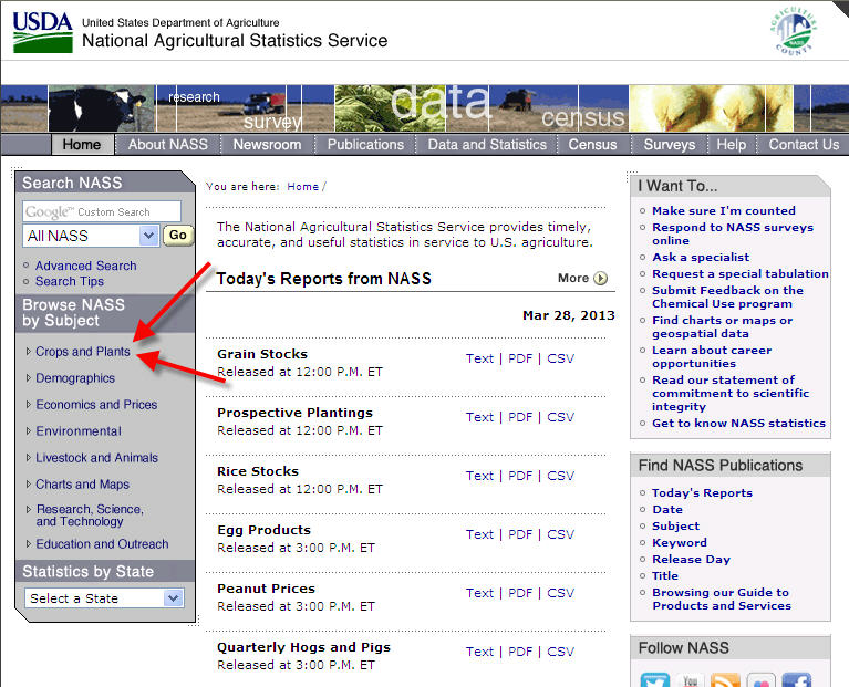 screen capture of NASS page, showing where to start to search for stats on crops and plants