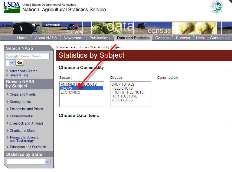 crops under statistics by subject