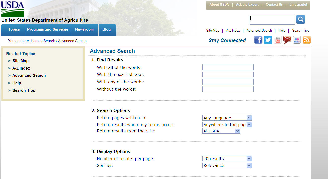 screen capture of the USDA's search screen options.