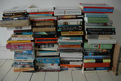 Four stacks of books