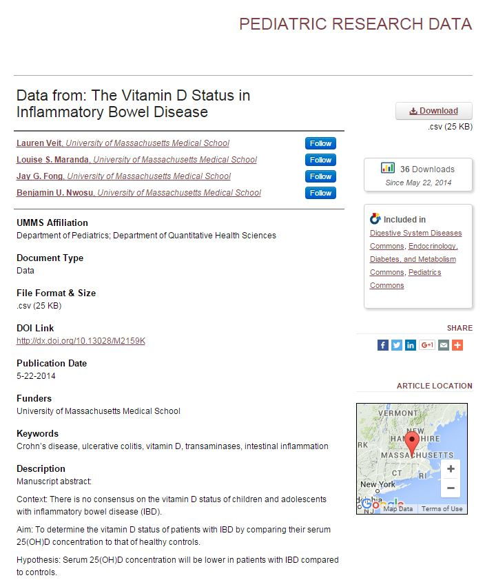 Example of research data in eScholarship@UMMS