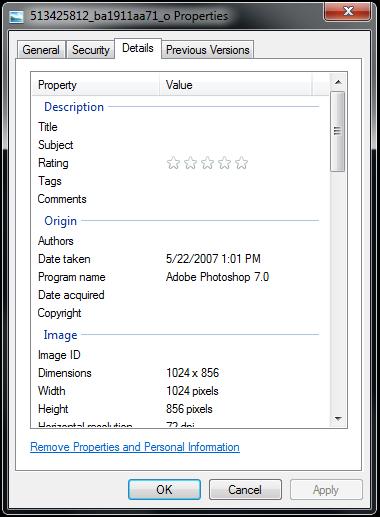 Windows Image Properties