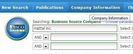 screen capture of company profile option in EBSCO