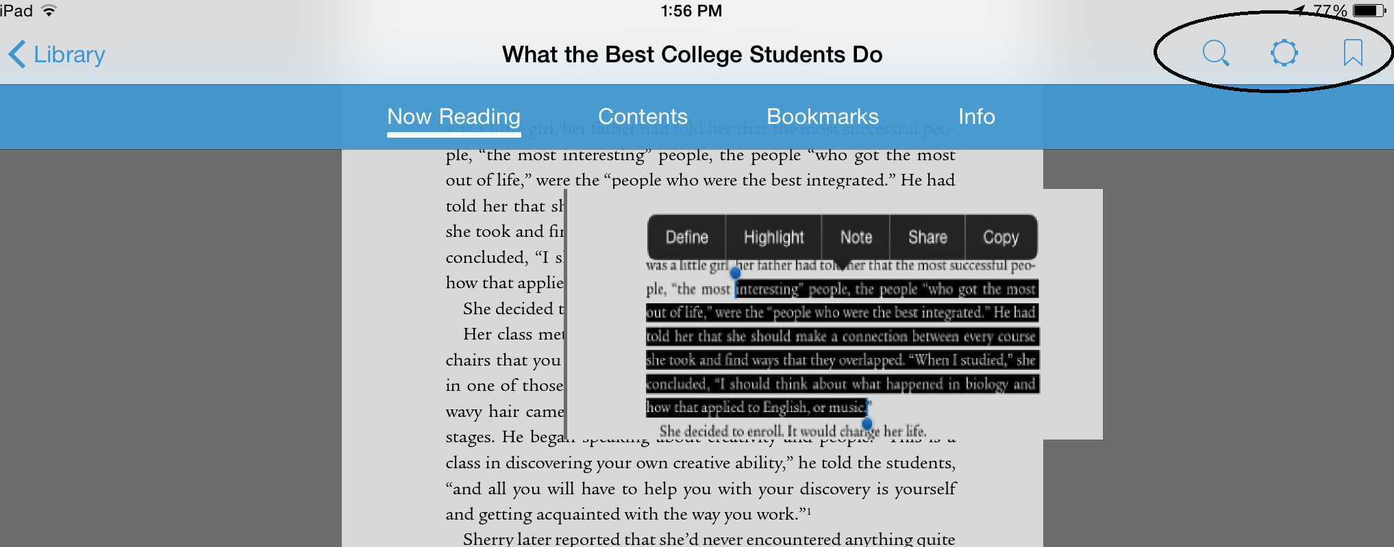 ebsco ebook display in Bluefire Reader for iOS