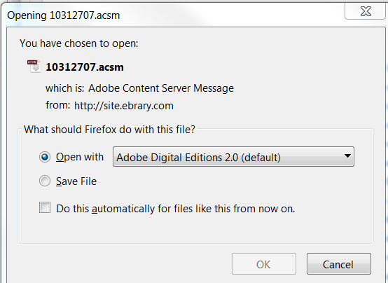 firefox download notification box that you have downloaded an ebrary ebook