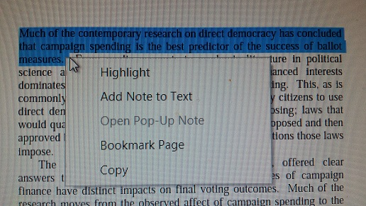 highlight text or take a note in ade