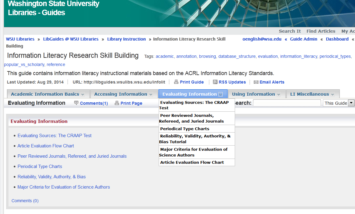 screenshot of the Evaluating Information subtab in the Information Literacy Research Skill Building library guide