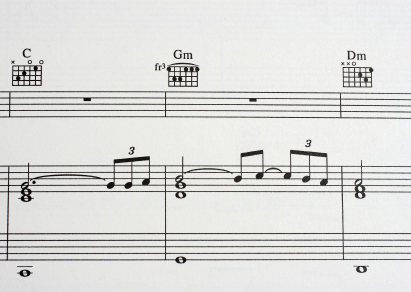 Example of musical notation with guitar chords in Finale