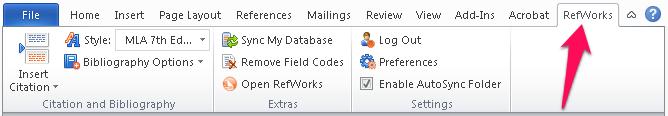 Write n Cite toolbar in Word