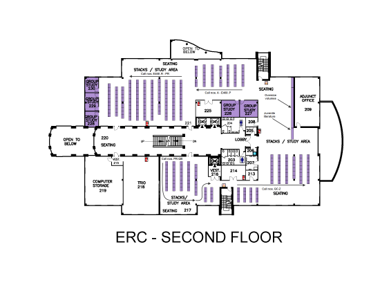 Hardin Valley Library Map 2nd Floor