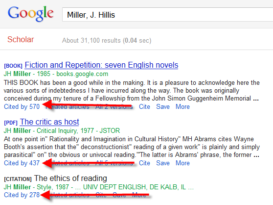 """Screenshot showing Google Scholar search results with the """"Cited by"""" feature highlighted"""