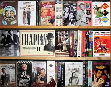 collage of classic film DVD covers