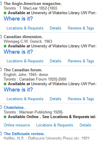 Catalogue list of Canadian magazines