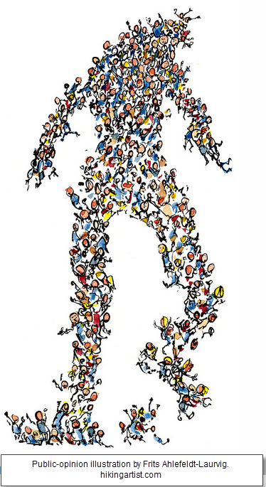 Public-opinion illustration by Frits Ahlefeldt-Laurvig. hikingartist.com. Shows a sketch of a human-like shape bursting with cartoon images of people.