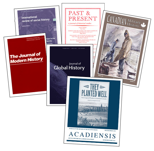 Collage of history journal covers