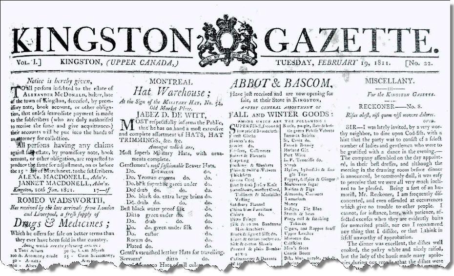 Kingston Gazette masthead. Feb 19, 1811