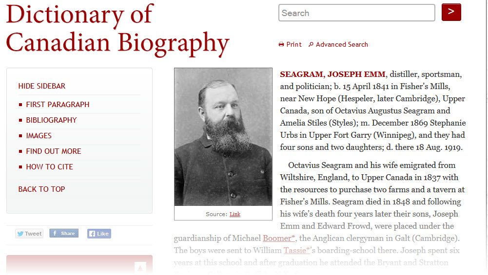 Start of the J.E. Seagram entry in the Dictionary of Canadian Biography