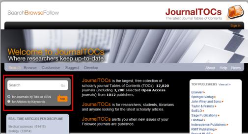 screenshot of JournalTOCs