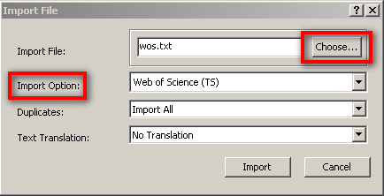 Image of EndNote file import dialog box with Choose button and Import Option highlighted.