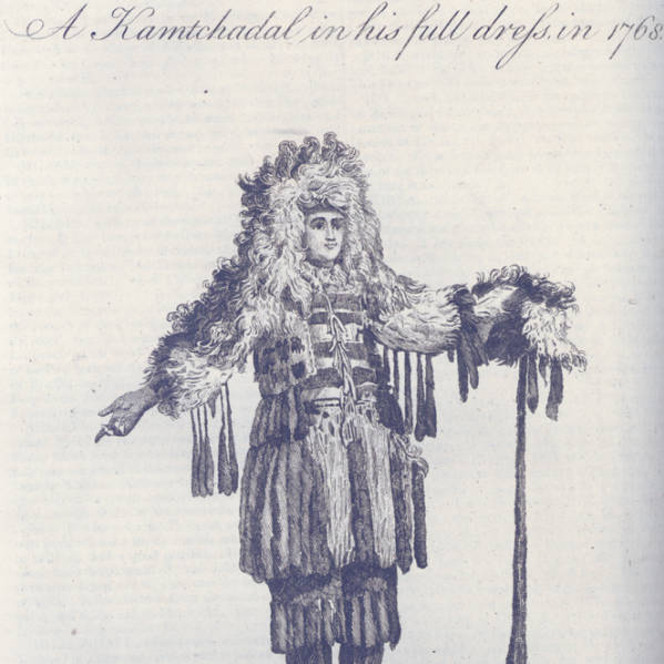 engraving of A Kamtchadal in his full dress in 1768