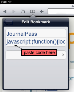 Edit Bookmark screen with the URL field highlighted: paste code here