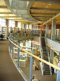 photo of Spokane Academic Library from the second floor