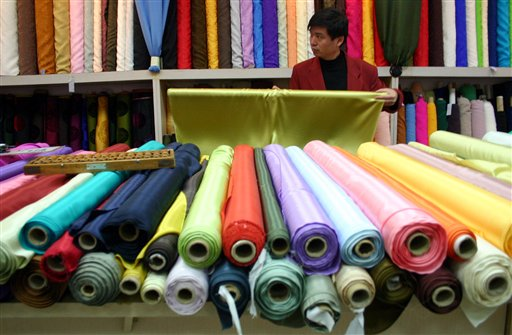 Rolls of Chinese textiles