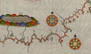 Fifteenth-century map by Piri Reis of the coastline of Andalusia and the city of Granada