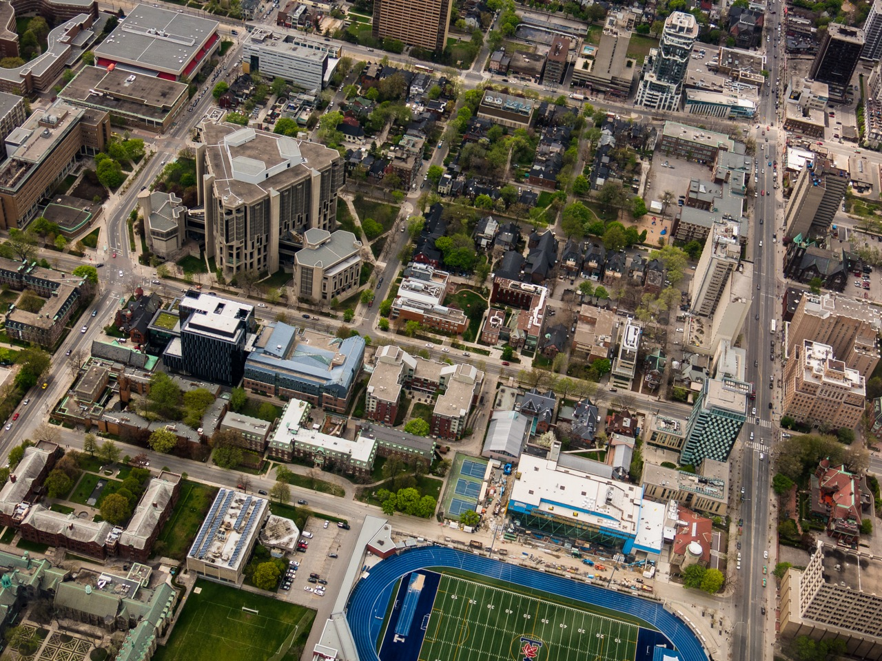 Aerial view of Robarts Library and surrounding Campus