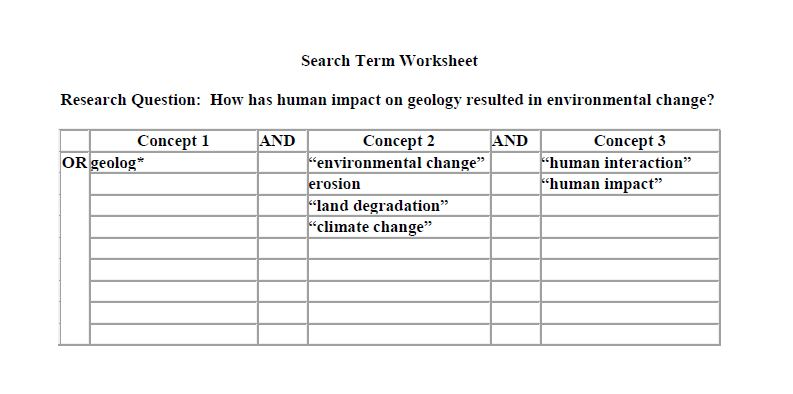 Search Worksheet