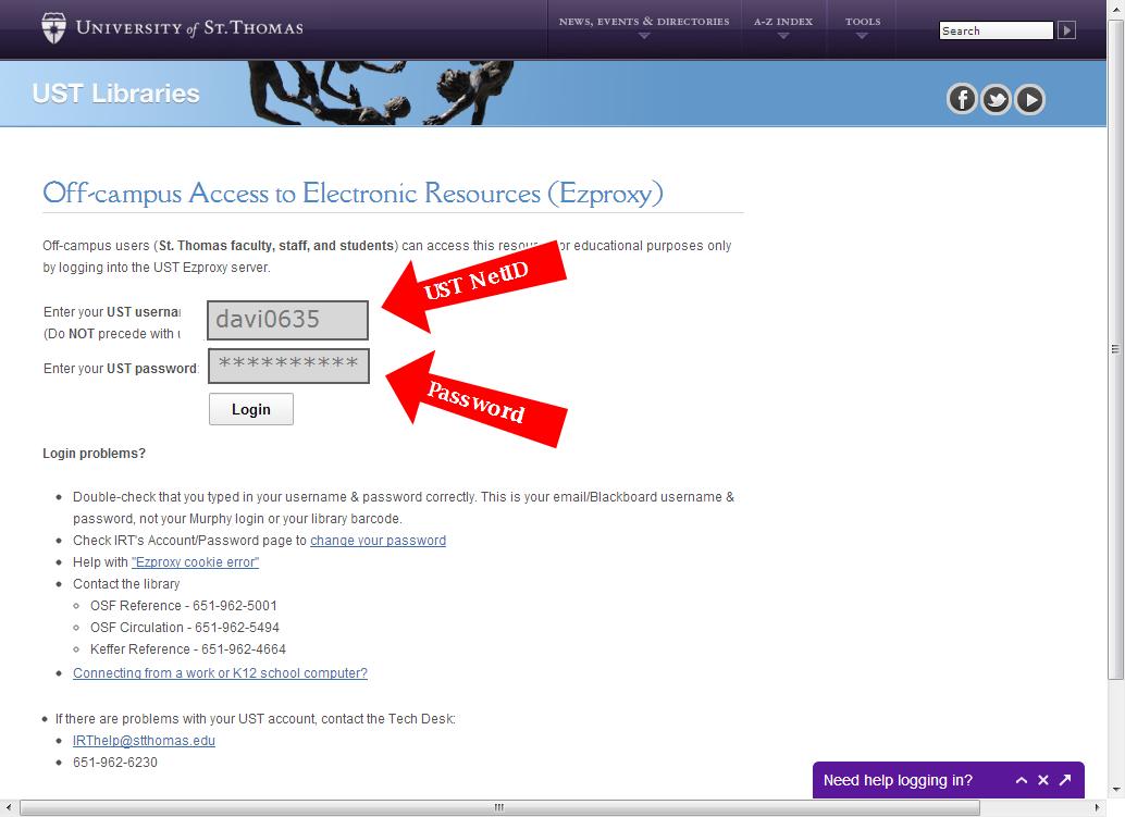 Log in with your USTNetID & Password
