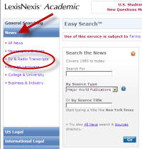 Searching for transcripts in Lexis-Nexis
