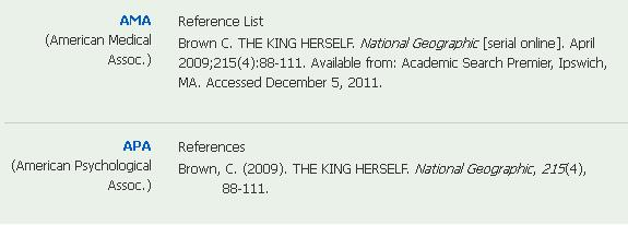 screenshot of various citations made from the Cite link.