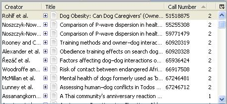 screen capture of middle panel's saved citations