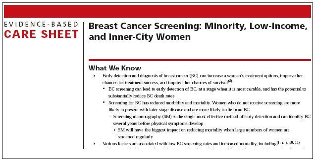 A sample evidence-based care sheet