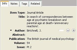 Screen capture of citation record