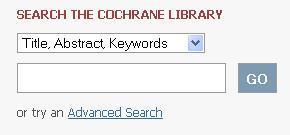 Cochrane Library search interface
