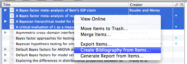 """screen capture of menu with """"create bibliography from items"""" highlighted"""
