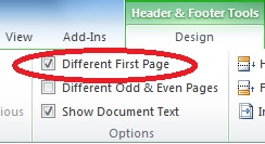 screen shot displaying Different First Page Check Box