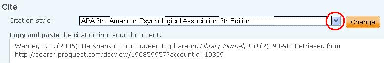 screen shot of citations offered by ProQuest databases