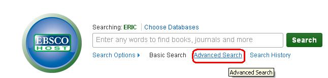 """screenshot of ERIC search screen with """"Advanced Search"""" circled in red."""