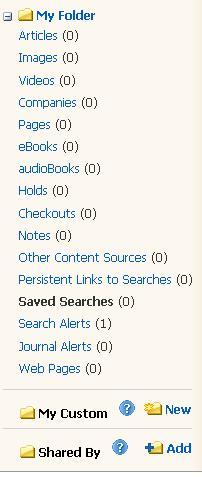 screenshot of folders in personal account