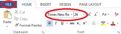 Screen capture of MS Word's Home tab, Font option