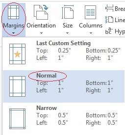 Screen capture of MS Word's Page Layout tab, Margins option