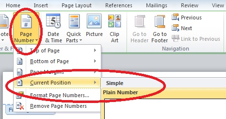 Screen capture of Page Number > Current Position option in MS Word