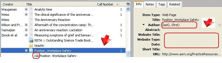 screen shot of new item captured from Web page and put in Zotero